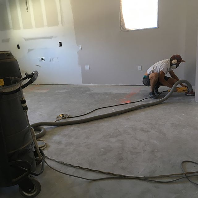 Shop update: prepping for tile. Pro tip #1, read the label of the materials you use. Free of foreign materials means you have to grind off psint, dirt, plaster, gubbers and crud. If you don't, your products will not work as advertised.